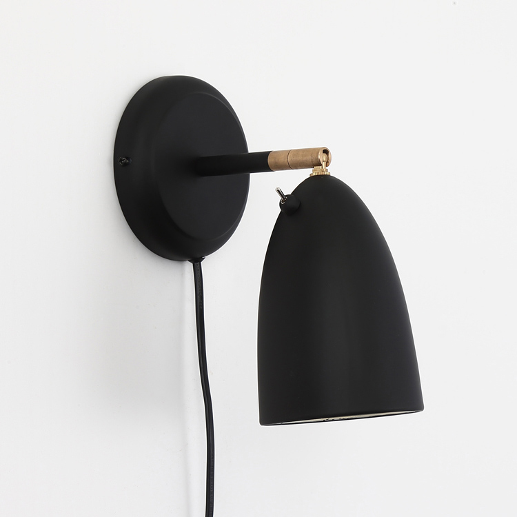 Scandinavian Style 1 Light Plug In Rotatable Wall Sconce In Black Wall Sconces Bedroom Sconces Scandinavian Wall Sconces