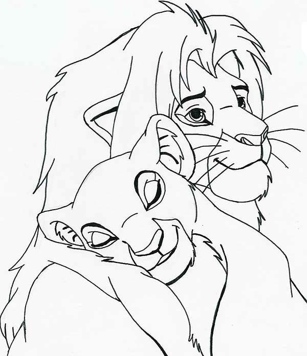 Nala Sleep On Simba Shoulder Coloring Page Download Print Online Coloring Pages For Free Color Nimbus In 2020 Disney Art Drawings Coloring Pages Disney Drawings