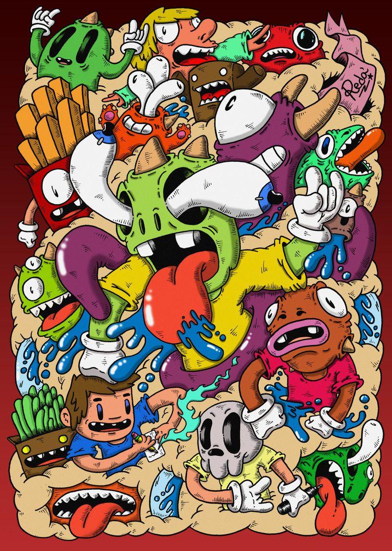Image result for doodle monster colored bg 39 s pinterest for Doodle art monster