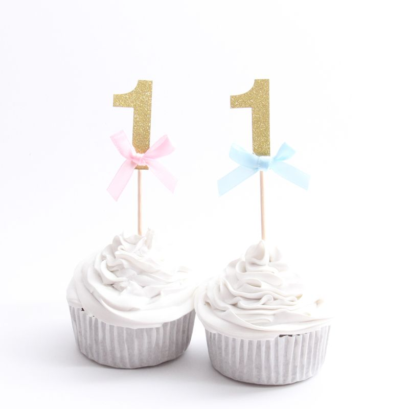 10PCS Happy First Birthday Cupcake Toppers 1st Baby Boy Girl Decorations I AM ONE My 1 Year Party Supplies In Cake Decorating From Home