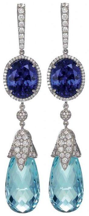 Aquamarine, Diamond and Sapphire Earrings by Chopard.  Via CIJ Jewellery Magazine. ♥