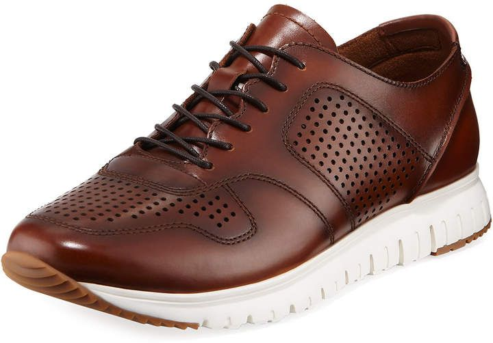 Kenneth Cole Mens Mens Perforated and Smooth Sneakers