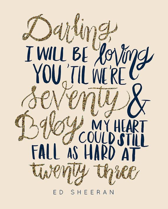 Thinking Out Loud Song Lyric Vintage Quote Print