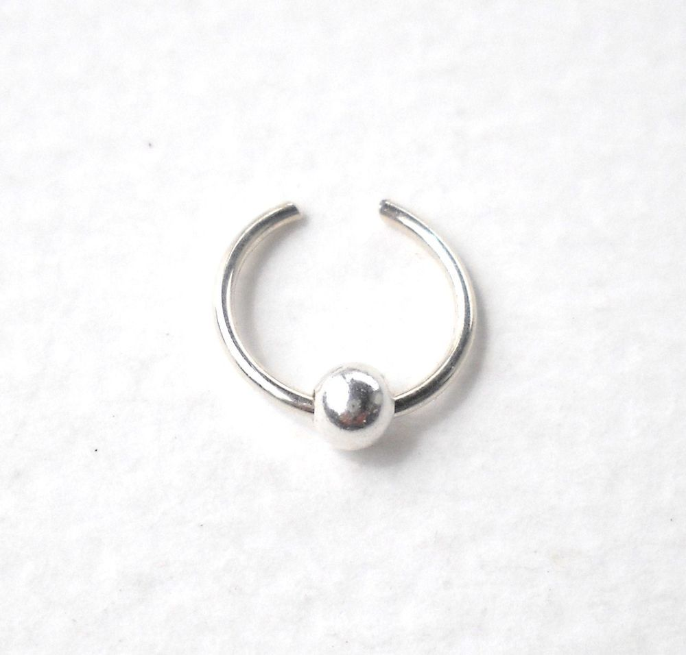 Nose accessories without piercing   Sterling Silver Ear Cuff or Fake Nose Ring Gauge   mm Fake