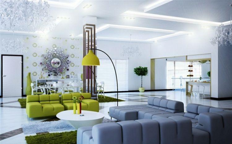 welche farbe passt zu grn modernes wohnzimmer grau neongrn couch interiordesign - Modernes Wohnzimmer Grau