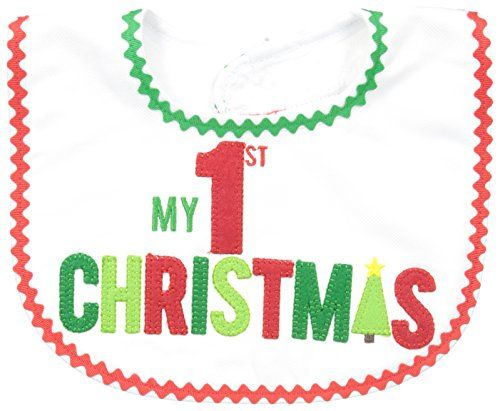 """Celebrate in style for Christmas dinner with your baby in this adorable new """"my first Christmas"""" bib Bib measures approximately 10"""" x 10"""" Mud Pie Unisex-Baby My First Christmas Bib-Red, White, 12M"""