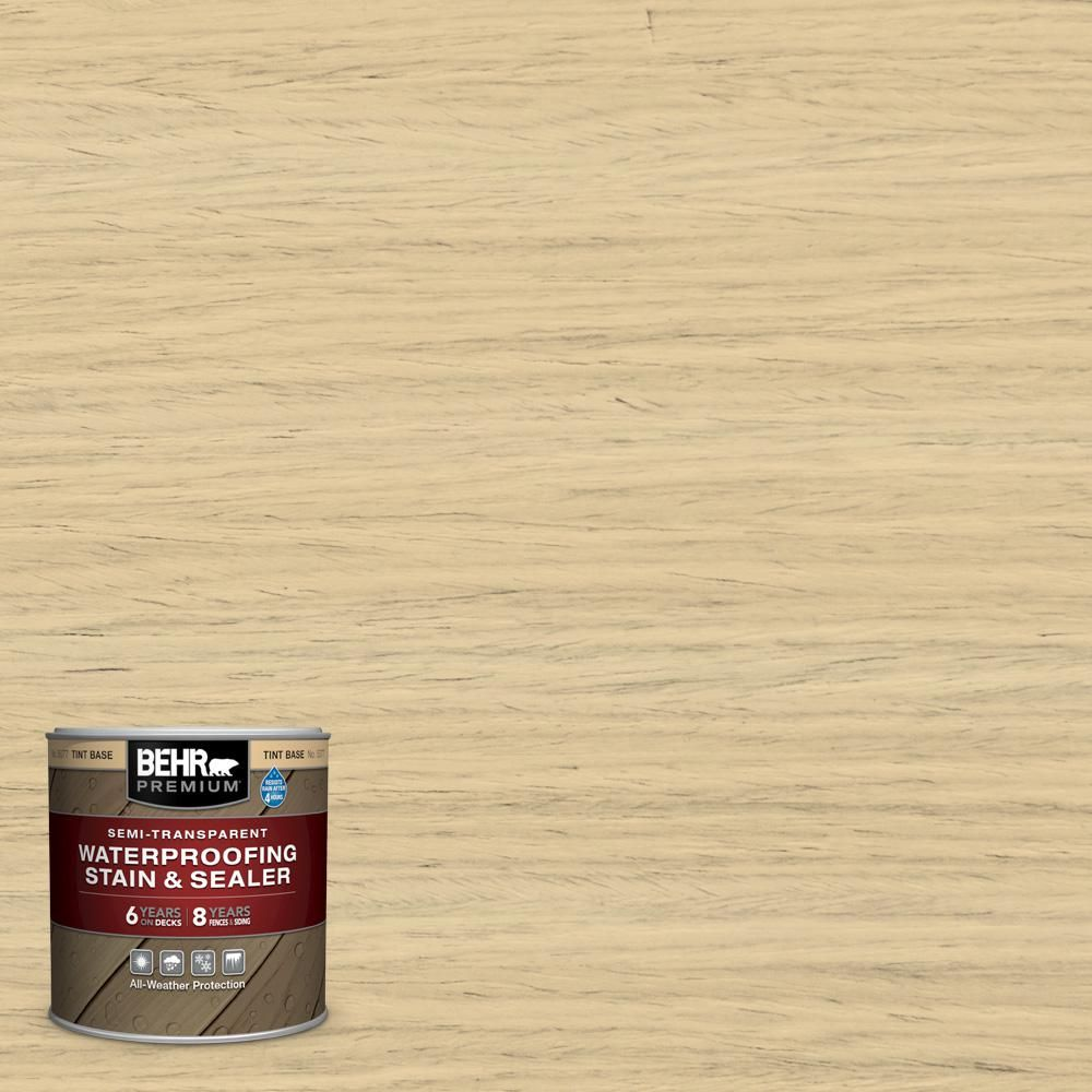 Behr Premium 8 Oz St 133 Yellow Cream Semi Transparent Waterproofing Exterior Wood Stain And Sealer Sample Exterior Wood Stain Semi Transparent Stain Semi Transparent