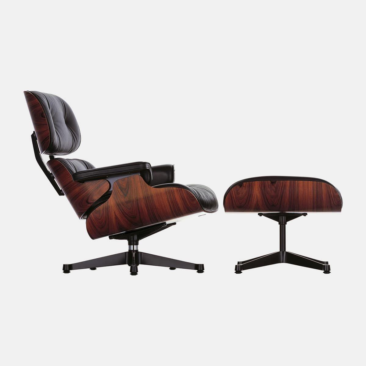 Vitra Charles Ray Eames Lounge Chair Ottoman Santos Palisander Leder Premium Zwart Aluminium Zijkanten Zwart 001shop Palisander Inneneinrichtung Einrichtung