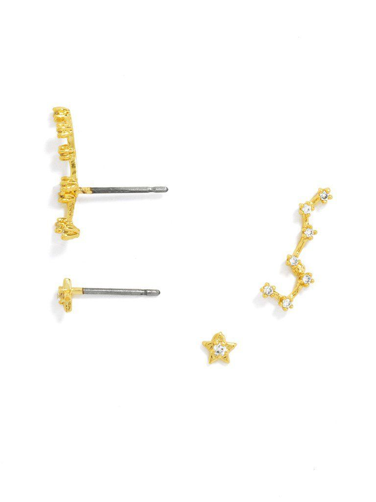 This ear crawler is shaped like a mini constellation and finished with petite gemstone embellishment. Wear a single five-pointed star stud in the other ear. This set includes 4 pieces. Please note that these delicate crawlers are not adjustable, so handle with care.