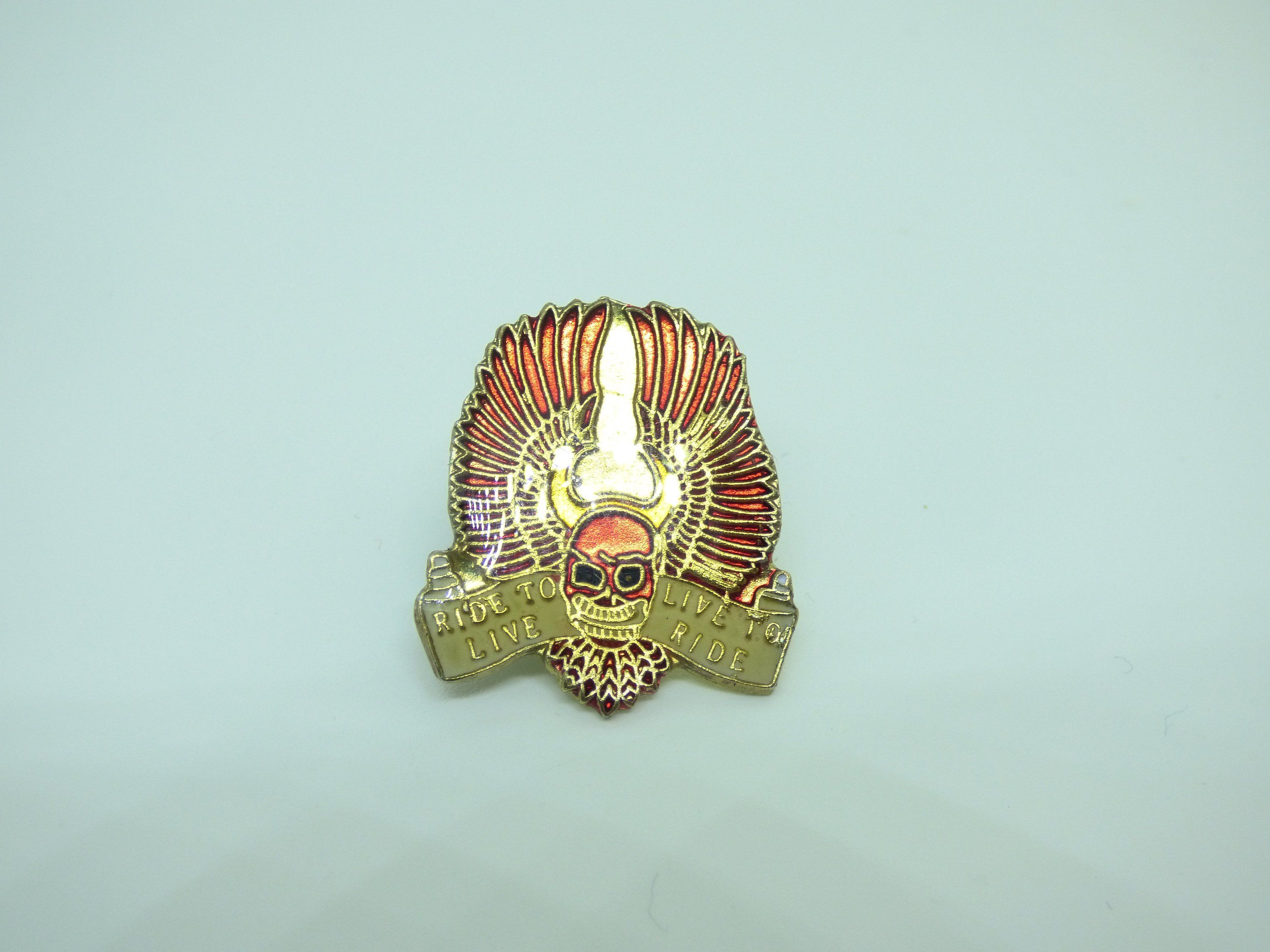 65d8713e070b6 Vintage 80s Ride to Live - Live to Ride - Biker - Harley Davidson - Winged  Skull Enamel Pin   Button   Badge by beatbopboom on Etsy