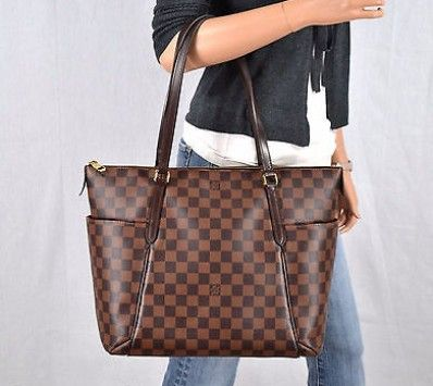 edc08b32c44e Louis Vuitton Totally Mm Damier Ebene Leather Tote Shoulder Bag Handbag  Purse
