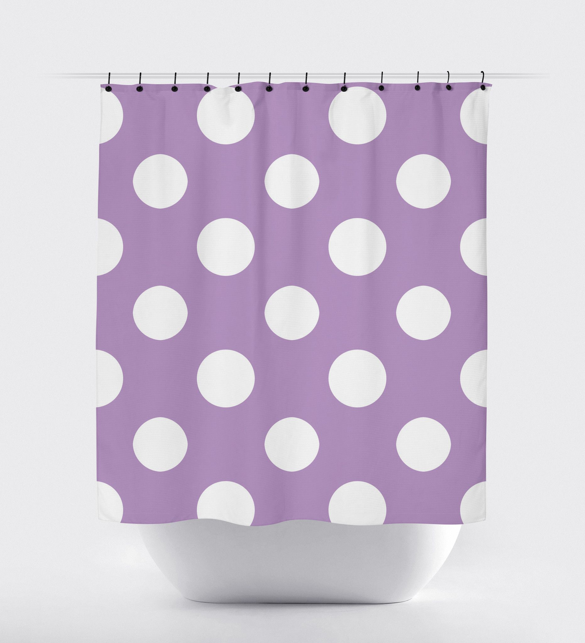 Dark Purple Polka Dot Shower Curtain With Images Curtains