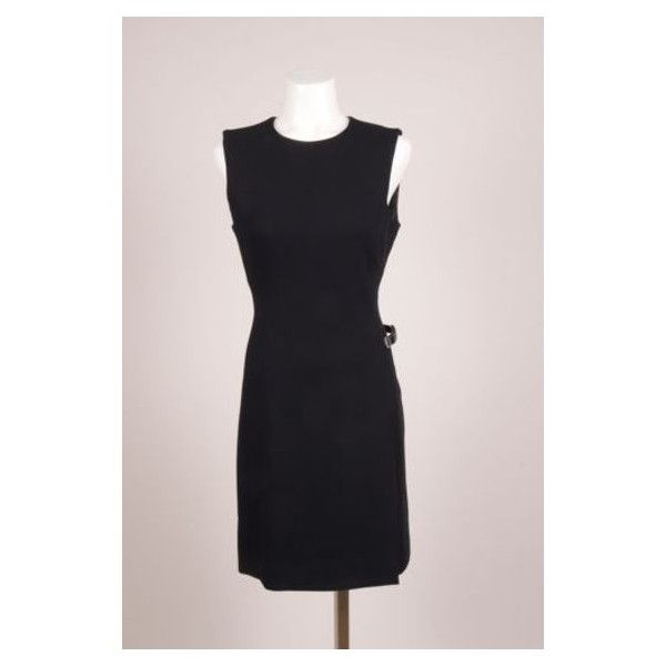 Pre-Owned Prada Black Woven Velcro Belt Sleeveless Sheath Dress (124,640 KRW) ❤ liked on Polyvore featuring dresses, black, prada, prada dresses, slit dress, sleeveless dress and zip dress