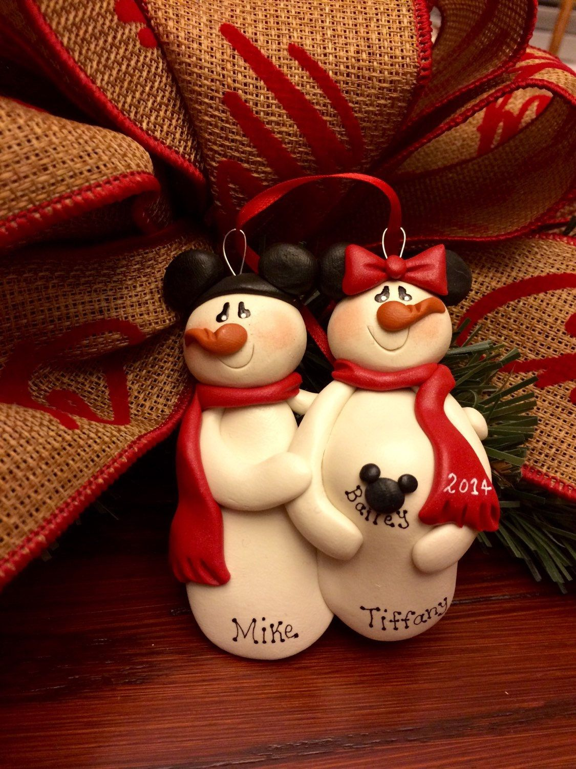 Christmas ornament expecting baby - Personalized Pregnant Expecting Mickey Minnie Disney Couple Christmas Ornament By Mistysclaycuties On Etsy Https