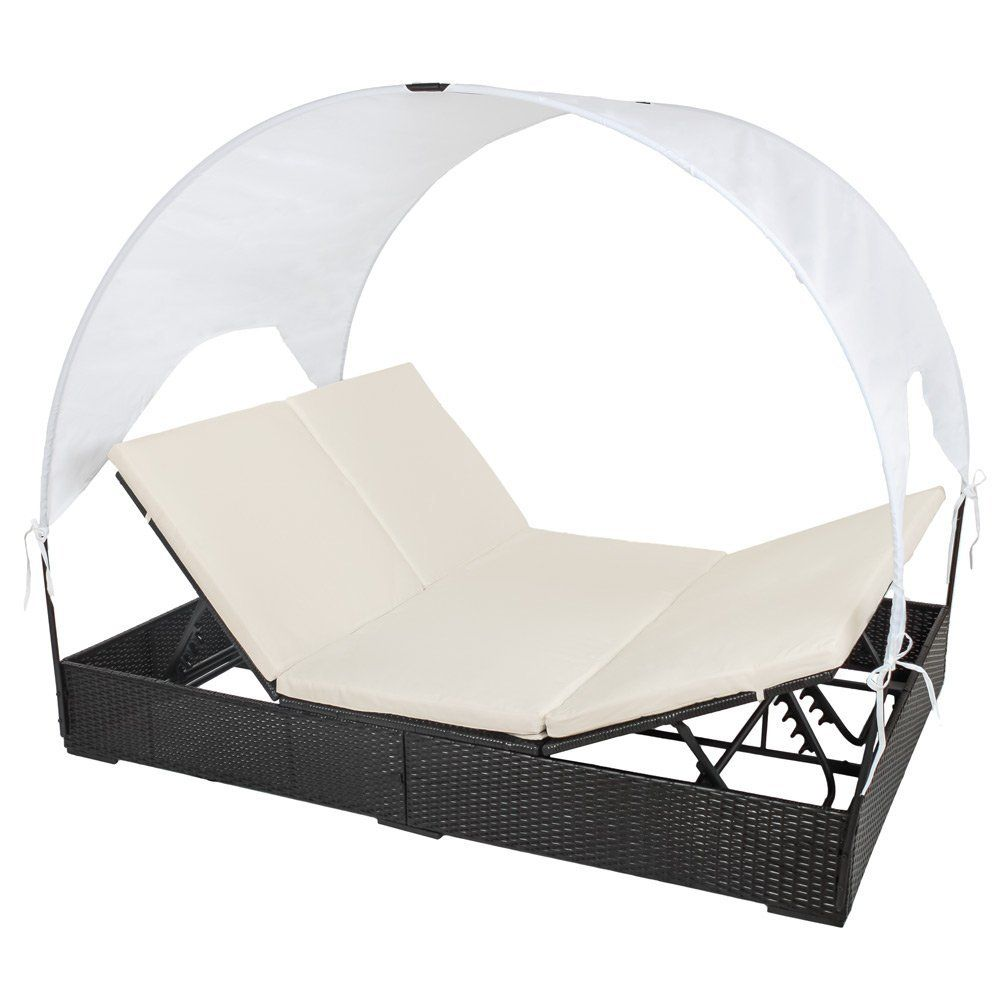 Amazon De Tectake Sonnenliege Poly Rattan Gartenliege Loungeliege Gartenlounge Doppelliege Sonneninsel Mit Dach 2 Perso Garten Lounge Sonnenliege Gartenliege