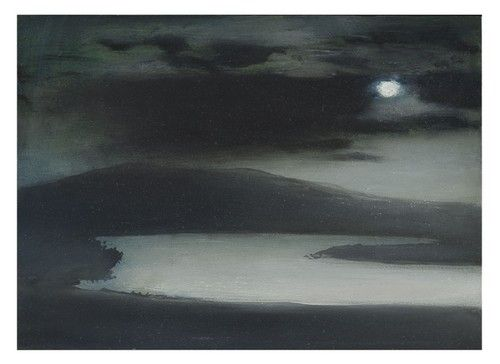 'Full Moon Over Trout Lough' by British artist Richard Cartwright (b.1951). Oil on panel, 13 x 18 in.
