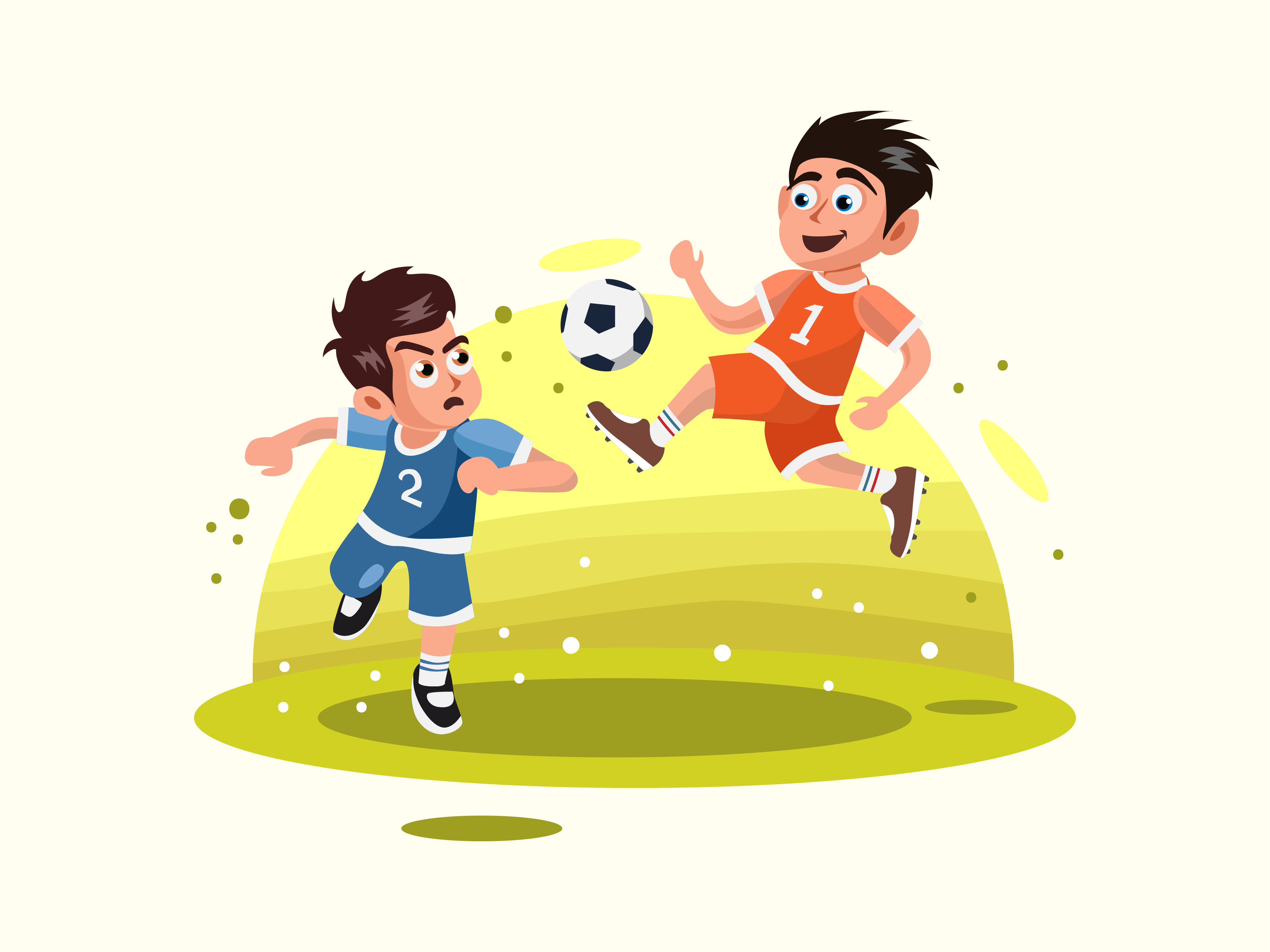 Two Kids Playing Soccer Vector Illustration Vector Illustration Kids Playing Illustration