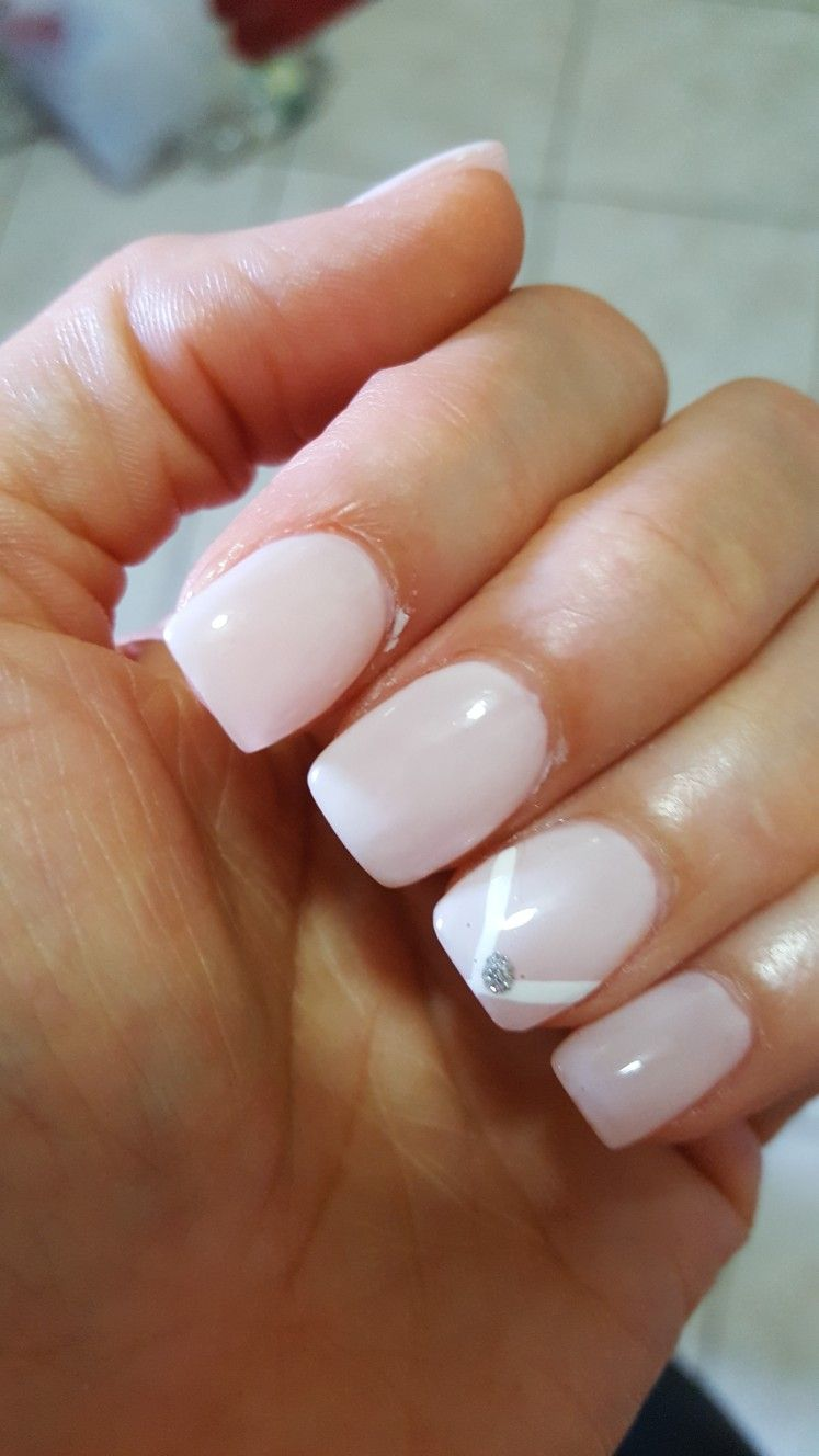 Soft pink nails, pink white and silver nails, Essie ballet slippers ...
