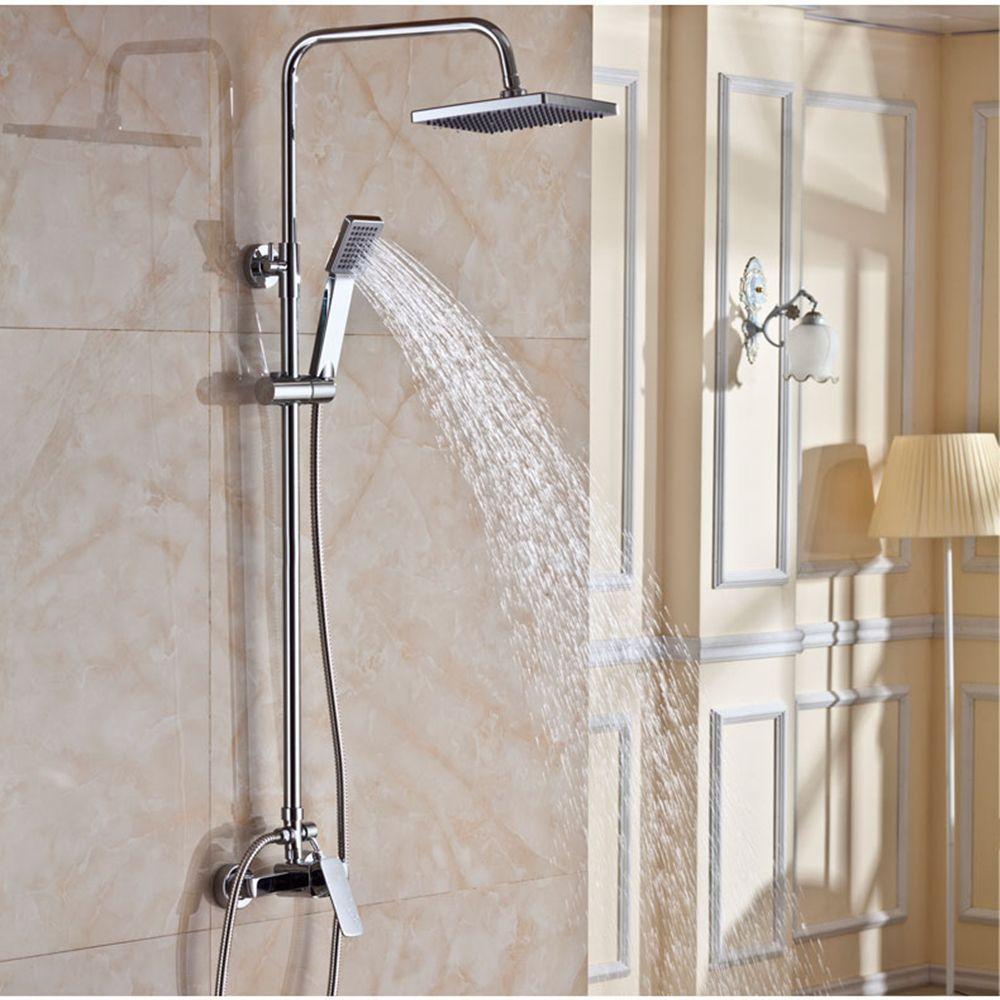 High Quality And Luxury Copper Brass Bathroom Rotundity Rain Shower Set 8 Mixer Faucet Tap Set 8 Inch Chuv Bathroom Shower Faucets Brass Bathroom Rain Shower [ jpg ]