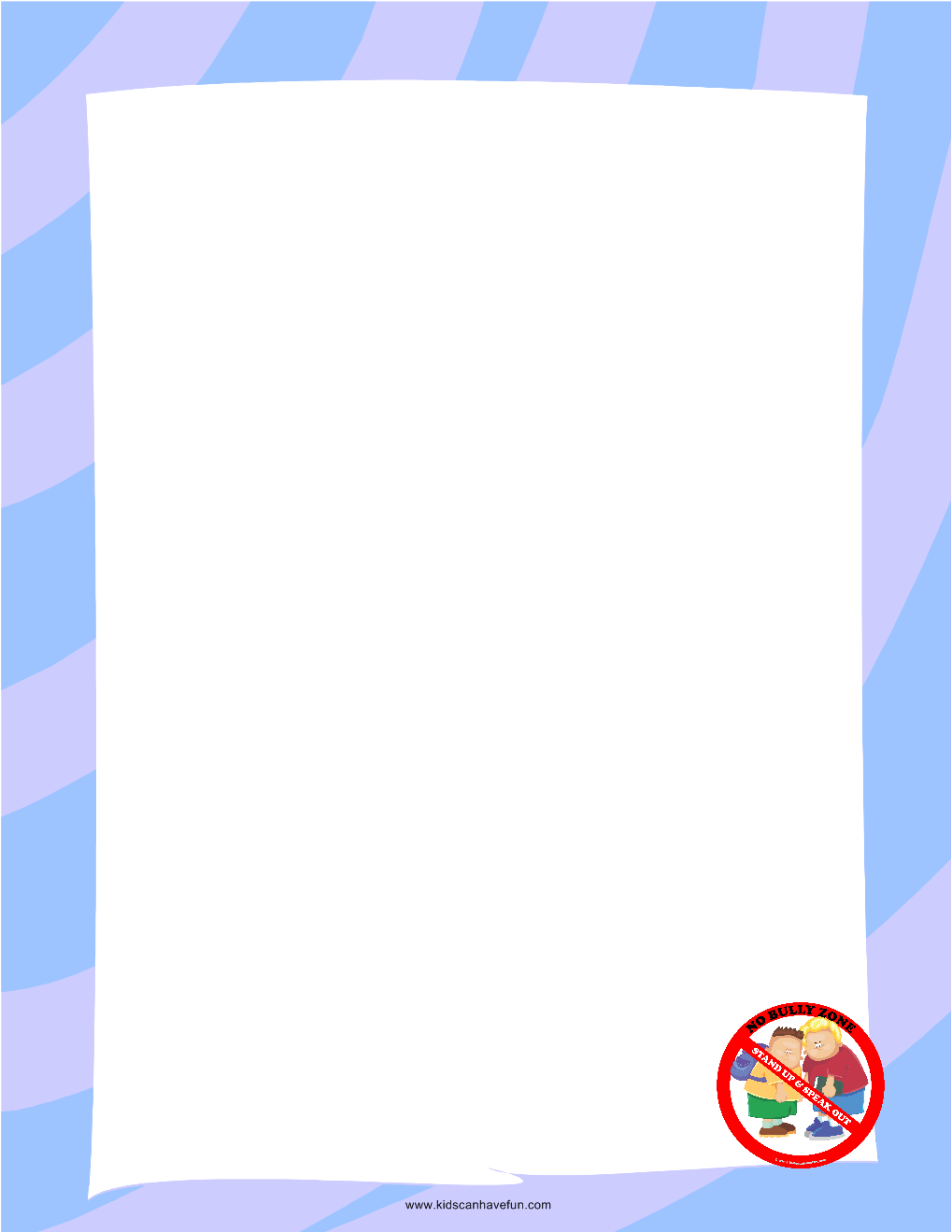 No Bullying Bordered Blank Paper   Printable Writing Paper   Pinterest