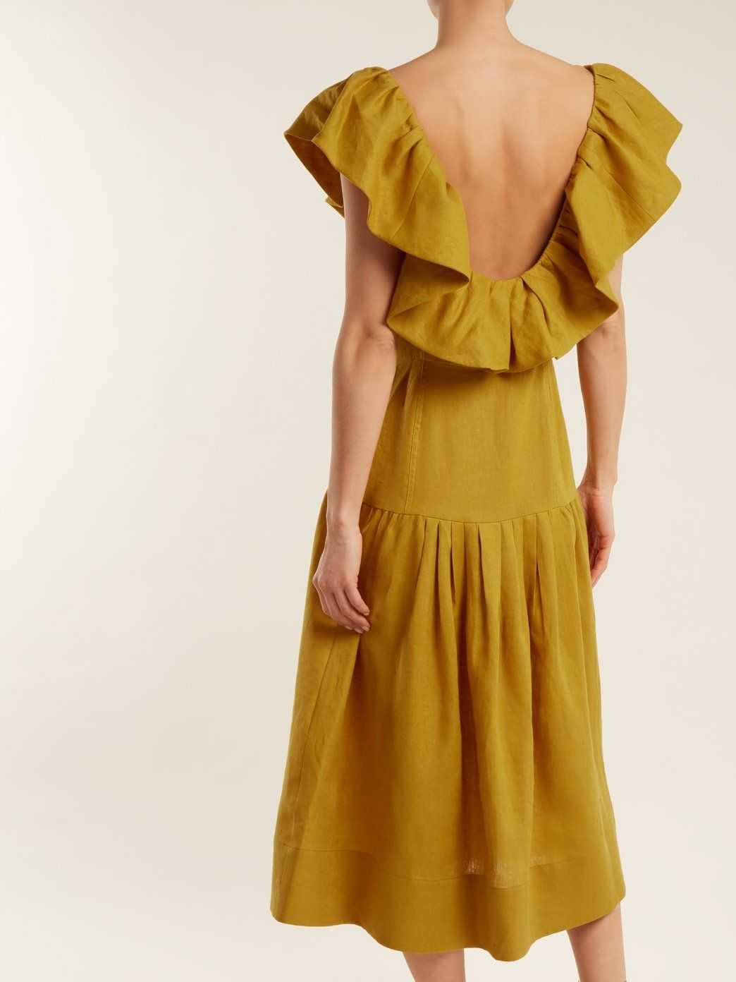9c0b26108fa Click here to buy Sea Goldie dropped-waist ruffled-neck linen dress at  MATCHESFASHION.COM