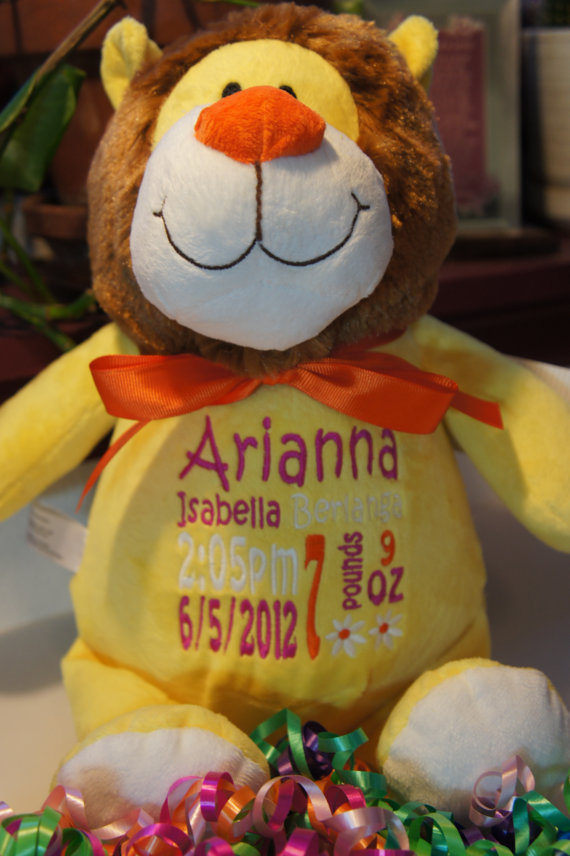 Personalized baby gift baby cubbies sundrop the lion birth personalized baby gift baby cubbies sundrop the lion birth announcement stuffed animal keepsake with machine embroidery negle Images