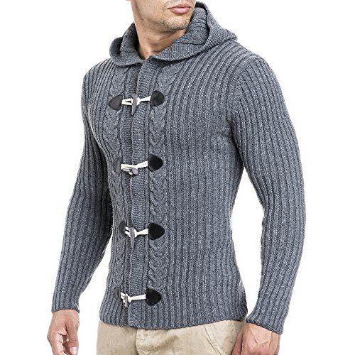 BALANDI Herren Strickpullover Strick Pullover Jacke Hoodie Hoody ; Größe XL, Anthrazit