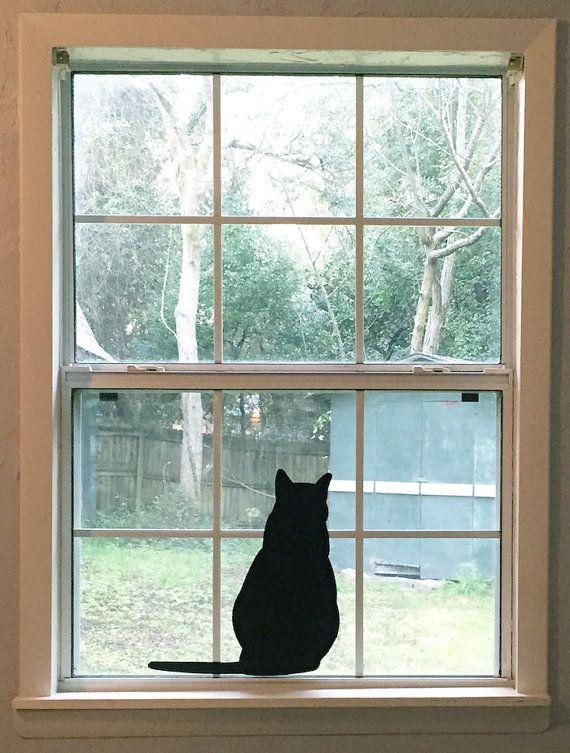 Large Sitting Black Cat Silhouette Vinyl Decal Black Cat - Vinyl decals for sliding glass doors