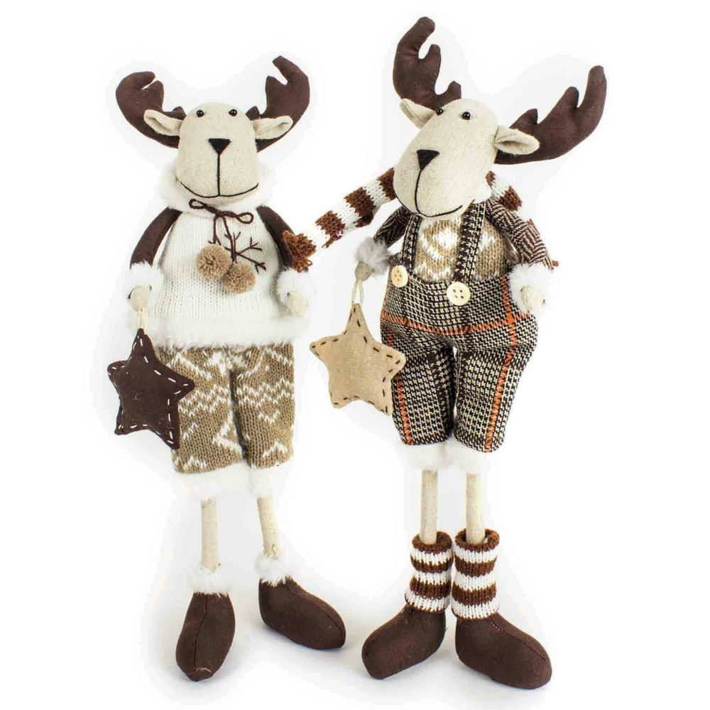 Reduced Christmas Decorations: Christmas Moose Fabric Standing Decoration Set Of 2