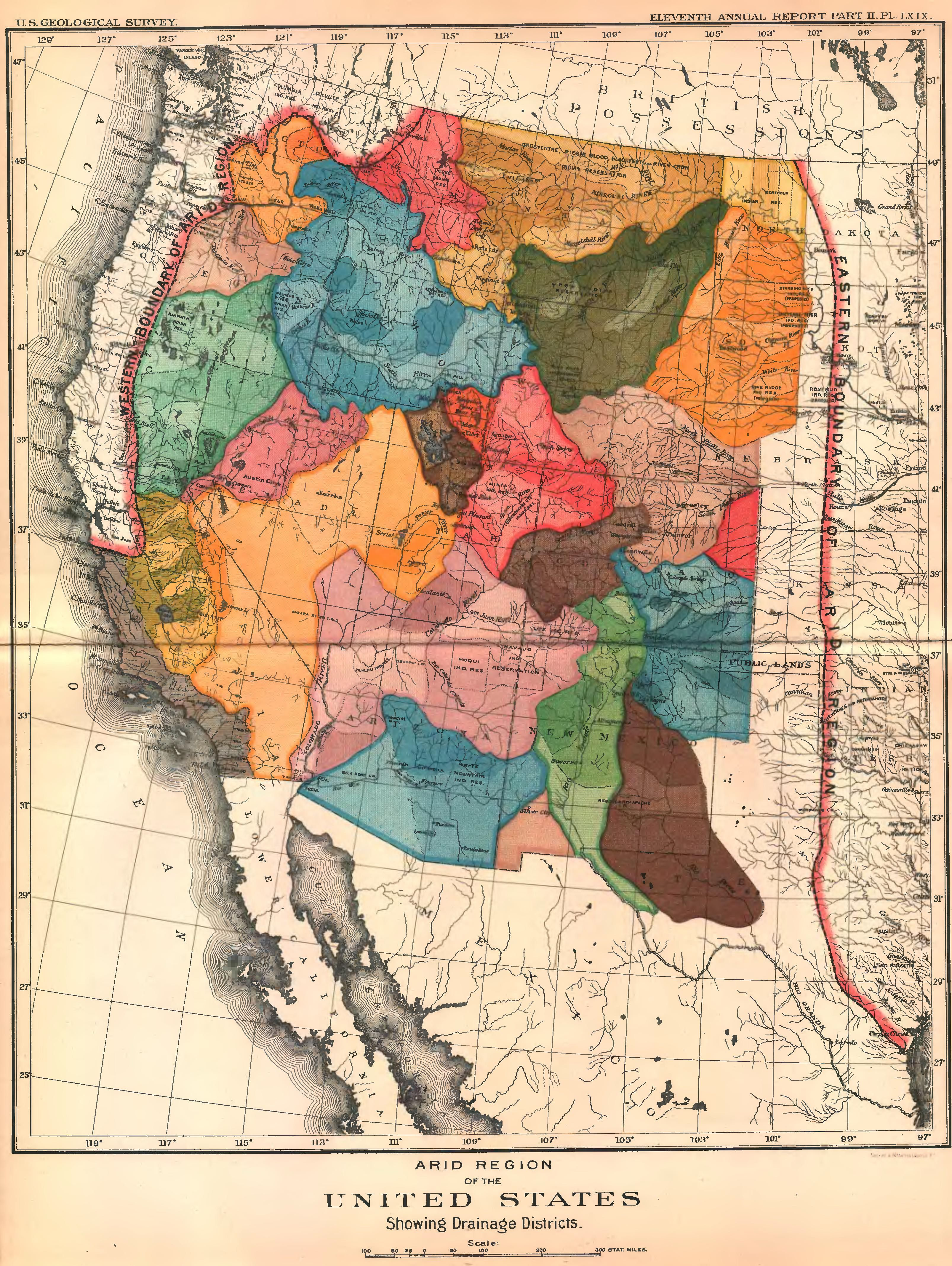 Arid Region Of The US Showing Drainage Districts John - Us map 1890