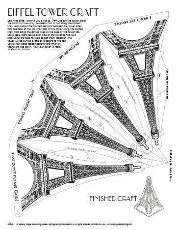 Paris Craft Eiffel Tower World Thinking Day Paris Birthday