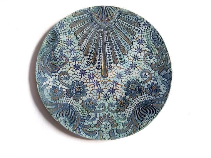 Nice Wand Keramik Teller Wand Deko Platte t rkis gold Keramik Platte shabby chic art