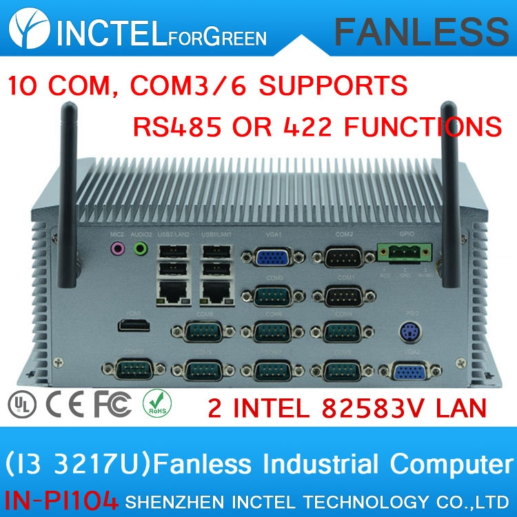 471.00$  Watch here - http://aliuzb.worldwells.pw/go.php?t=32319127789 - 2015 latest 10 COM Industrial Mini PC IPC with Intel I3 3217U dual core four threads 1.8Ghz fanless micro pc