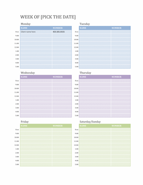 Office Schedule Template Planner Addict Calendar Appointment