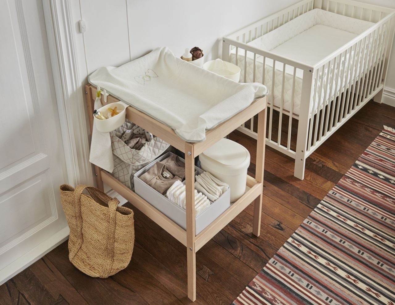 The Sniglar Changing Table Makes Diaper Changing Less Of A Chore It Also Has A Practical Sto Baby Changing Tables Minimal Baby Room Baby Bedroom Ideas Neutral