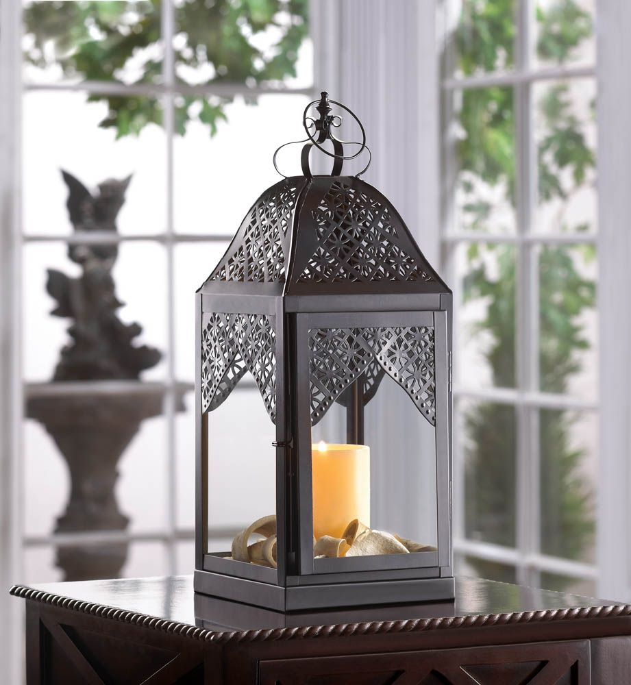 Wholesale large black filigree steeple candle lantern