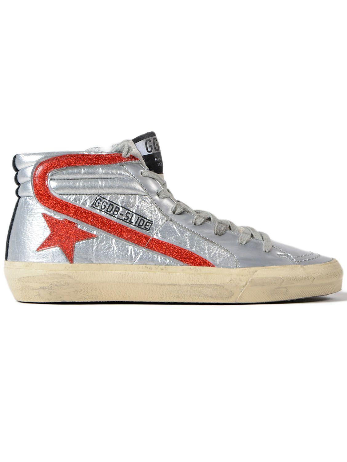 8e1675090989 Golden Goose - Golden Goose Sneakers Slide Glitter Star Dance - Silver Red