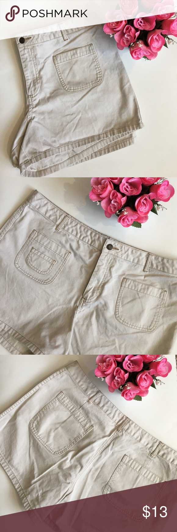 """Old Navy plus size short shorts Like new. Bone color. 13"""" long waist to hem. Inseam about 4"""". Waist 38"""" zipper & button closure. Cotton. Leg opening 13"""" when flat. Front and back flat pockets. No stretch but gives due to being cotton.  I would say they run slightly small so although tag reads 16, I listed as 14/16. Please see measurements Old Navy Shorts"""