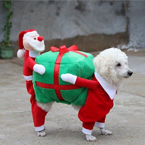 Foox Pet Christmas Costumes Dog Suit with Cap Santa Suit Dog Hoodies * More  infor at the link of image : Christmas Presents for Cats - Foox Pet Christmas Costumes Dog Suit With Cap Santa Suit Dog Hoodies