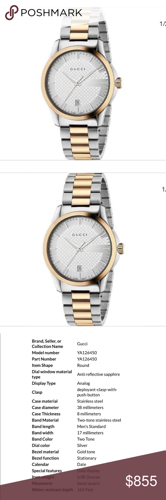 8d5ab30eeea Nwt and box Authentic Gucci Gucci unisex YA126450 Timeless Two Tone  Stainless Steel Swiss Quartz Watch