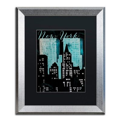 "Trademark Art 'Retro Cities I' Framed Graphic Art Mat Color: Black, Size: 20"" H x 16"" W x 0.5"" D"