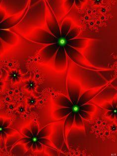 Red Fractal Flowers