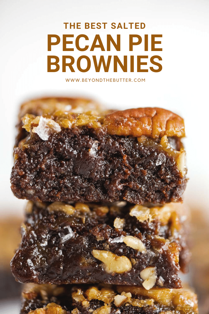 These Salted Pecan Pie Brownies are a MUST-MAKE this holiday (and all year round)! Made in an 8