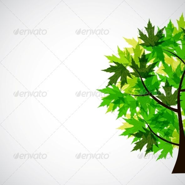 Abstract Vector Spring Tree Illustration