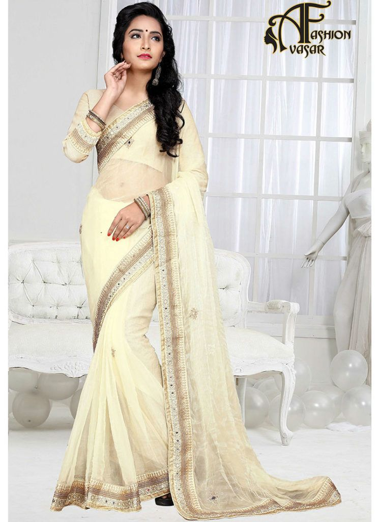 56c741b8ed White Sarees Online – Shimmer Sarees Online India | Party Wear ...