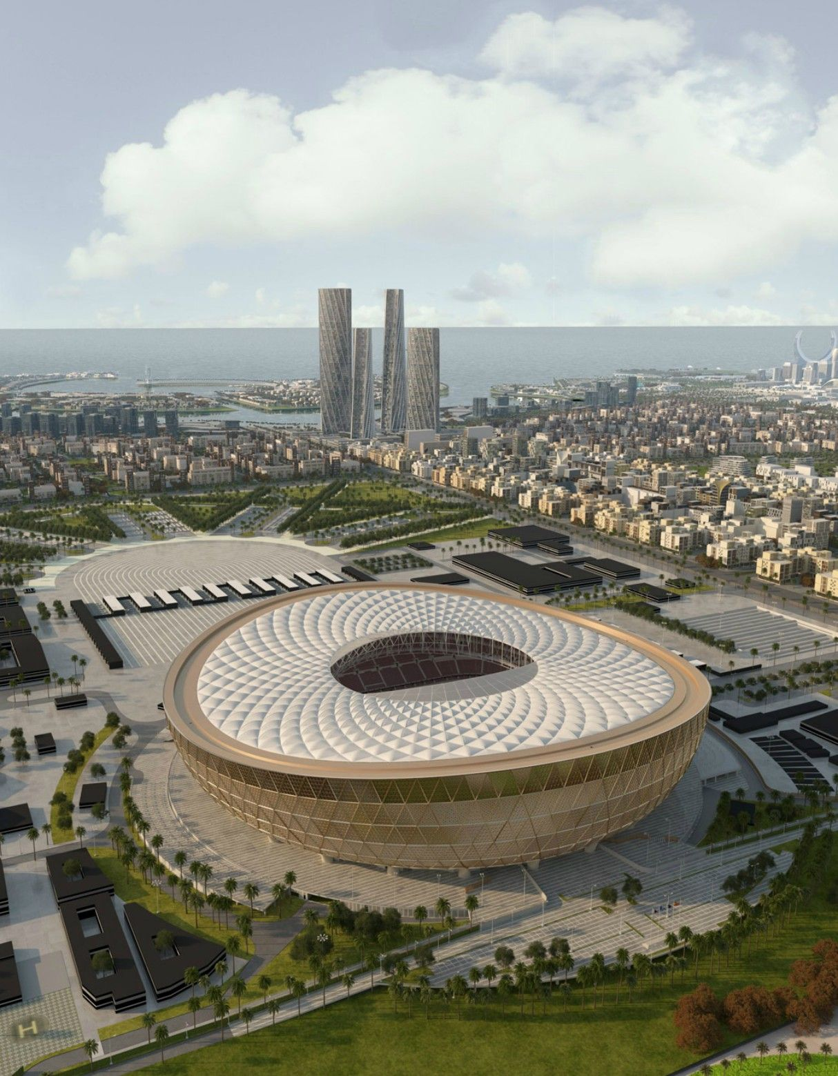 Qatar 2022 World Cup Final Stadium Revealed In 2020 Stadium Architecture World Cup Stadiums Qatar Stadium