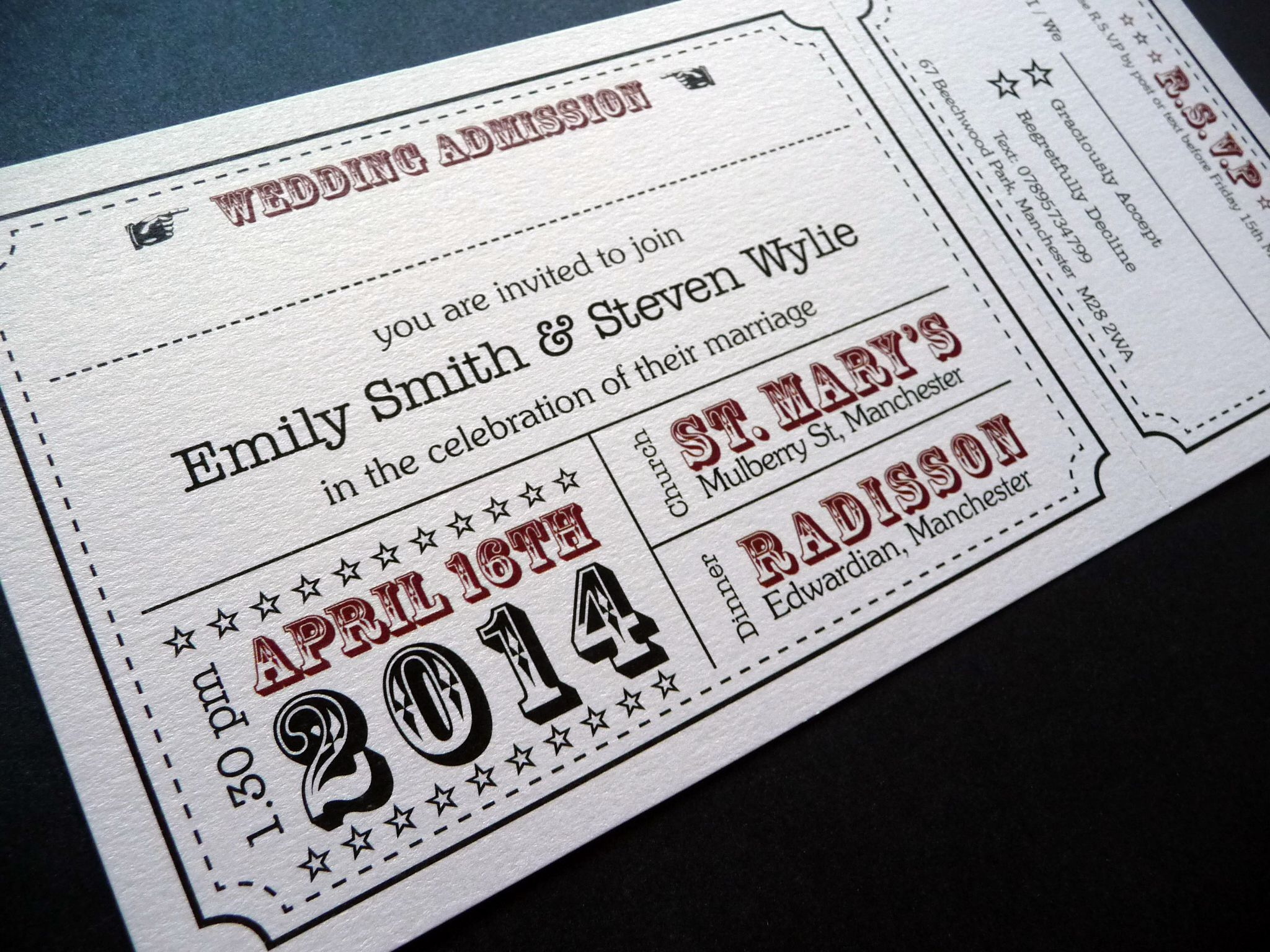 Theatre Ticket styled wedding invitations | Our Wedding Invitations ...