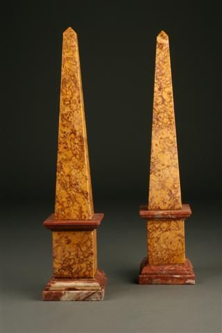 Pair Of Italian Marble Obelisks Italian Marble Obelisk Marble