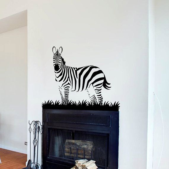 Zebra Wall Decal Cute Vinyl Sticker Home Arts Animal Wall Decals Decor  Africa Pattern