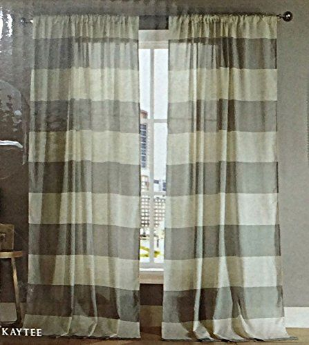 Modern Home Wide Stripes Curtains 2 Panels Extra Wide 76 x 96 ...